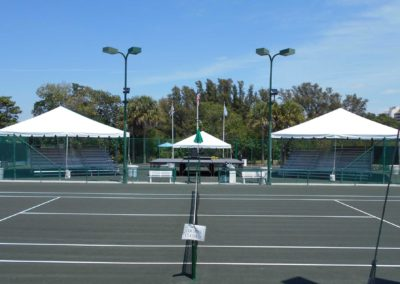 covered bleachers for tennis tournament